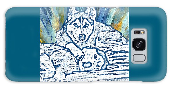Galaxy Case featuring the painting Expressive Huskies Mixed Media F51816 by Mas Art Studio