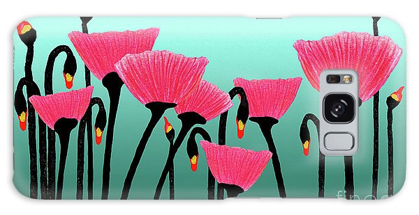 Expressive Red Pink Green Poppy Painting Y1a Galaxy Case