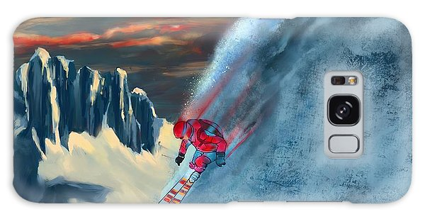 Mountain Sunset Galaxy S8 Case - Extreme Ski Painting  by Sassan Filsoof