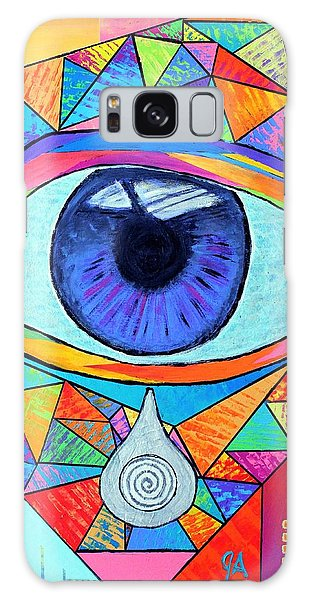 Eye With Silver Tear Galaxy Case by Jeremy Aiyadurai