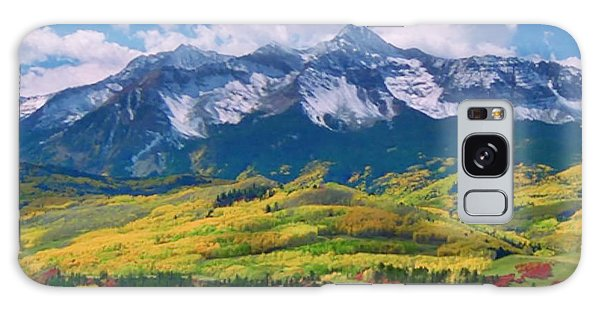 Facinating American Landscape Flowers Greens Snow Mountain Clouded Blue Sky  Galaxy Case