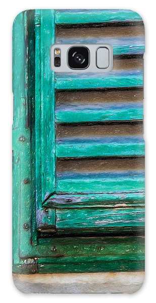 Faded Green Window Shutter Galaxy Case