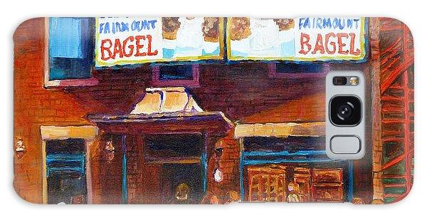 Fairmount Bagel With Blue Car  Galaxy Case by Carole Spandau