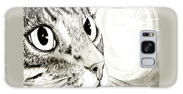 Fairy Light Tabby Cat Drawing Galaxy Case by Carrie Hawks