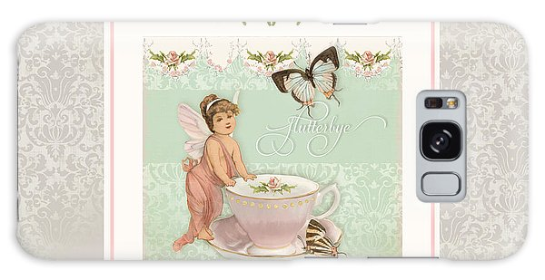Fairy Teacups - Flutterbye Butterflies And English Rose Damask Galaxy Case
