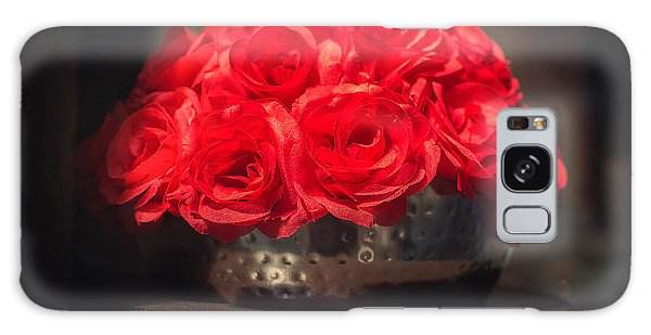 Artful Galaxy Case - Fake Red Roses In Shadows On A Metallic Pot  by Luca Lorenzelli