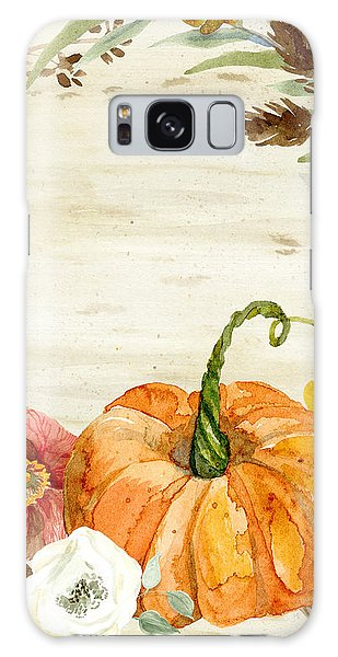 Fall Autumn Harvest Wreath On Birch Bark Watercolor Galaxy Case
