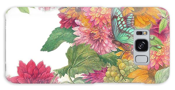 Fall Florals With Illustrated Butterfly Galaxy Case