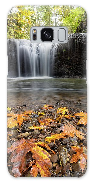 Fall Maple Leaves At Hidden Falls Galaxy Case