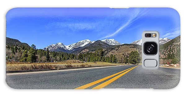 Fall River Road With Mountain Background Galaxy Case by Peter Ciro