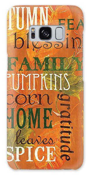 Pumpkin Galaxy S8 Case - Fall Typography 1 by Debbie DeWitt