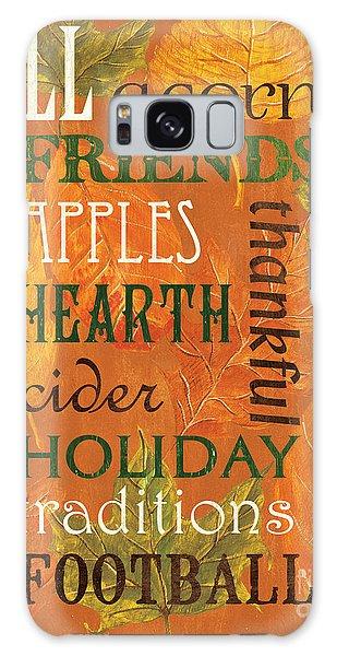 Maple Leaf Art Galaxy Case - Fall Typography 2 by Debbie DeWitt
