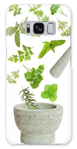 Herbs Galaxy Case - Falling Herbs by Amanda Elwell