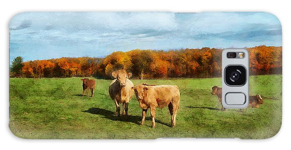 Farm Field And Brown Cows Galaxy Case