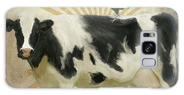 Galaxy Case featuring the painting Farm Fresh Barnyard Animals Cow Rooster Typography by Audrey Jeanne Roberts