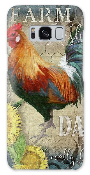 Galaxy Case featuring the painting Farm Fresh Daily Red Rooster Sunflower Farmhouse Chic by Audrey Jeanne Roberts