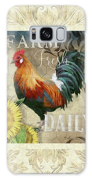 Galaxy Case featuring the painting Farm Fresh Damask Red Rooster Sunflower by Audrey Jeanne Roberts