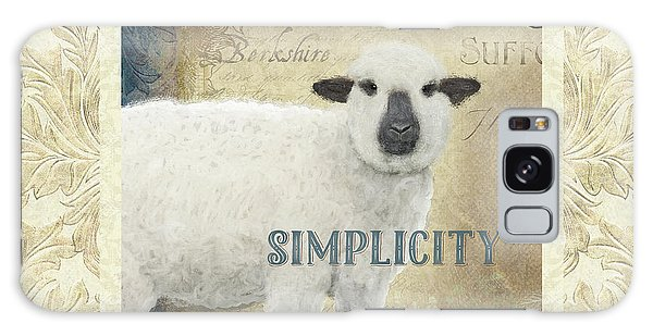 Galaxy Case featuring the painting Farm Fresh Damask Sheep Lamb Simplicity Square by Audrey Jeanne Roberts