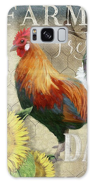 Galaxy Case featuring the painting Farm Fresh Red Rooster Sunflower Rustic Country by Audrey Jeanne Roberts