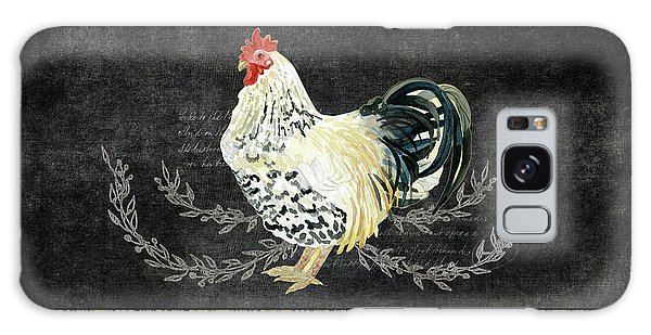 Farm Fresh Rooster 3 - On Chalkboard W Diamond Pattern Border Galaxy Case by Audrey Jeanne Roberts