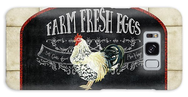 Farm Fresh Roosters 1 - Fresh Eggs Typography Galaxy Case by Audrey Jeanne Roberts