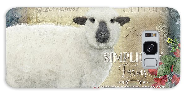 Galaxy Case featuring the painting Farm Fresh Sheep Lamb Wool Farmhouse Chic  by Audrey Jeanne Roberts