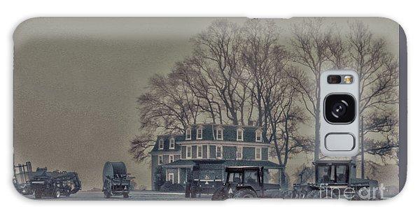 Farmhouse In Morning Fog Galaxy Case by Sandy Moulder