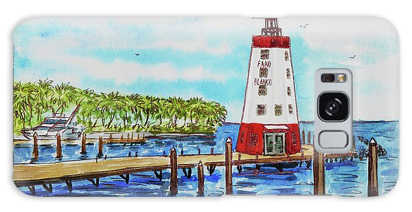 Galaxy Case featuring the painting Faro Blanco Lighthouse Florida Keys by Irina Sztukowski