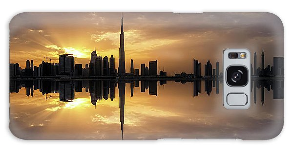 Fascinating Reflection In Business Bay District During Dramatic Sunset. Dubai, United Arab Emirates. Galaxy Case