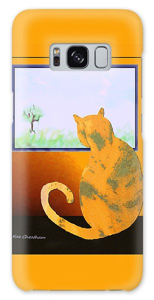 Fat Cat At Her Window Galaxy Case