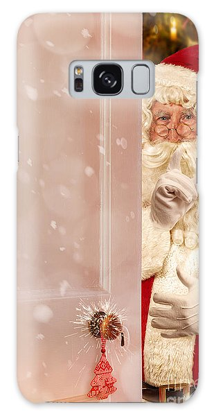 Santa Claus Galaxy Case - Father Christmas At The Door by Amanda Elwell
