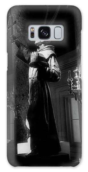 Father Junipero Serra In Black And White Galaxy Case by Chrystal Mimbs