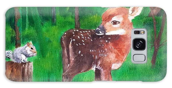 Fawn With Squirrel Galaxy Case by Ellen Canfield