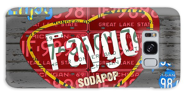 Recycle Galaxy Case - Faygo Soda Pop Recycled Vintage Michigan License Plate Art On Gray Distressed Barn Wood by Design Turnpike