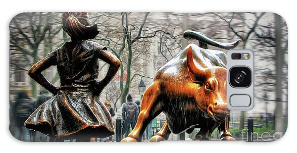 Horizontal Galaxy Case - Fearless Girl And Wall Street Bull Statues by Nishanth Gopinathan