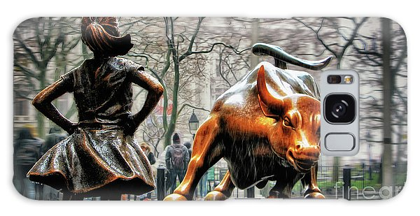 Bull Galaxy Case - Fearless Girl And Wall Street Bull Statues by Nishanth Gopinathan