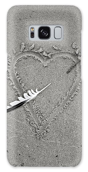 Feather Arrow Through Heart In The Sand Galaxy Case