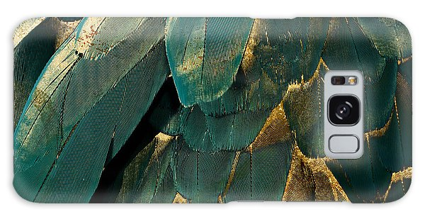 Feathers Galaxy Case - Feather Glitter Teal And Gold by Mindy Sommers