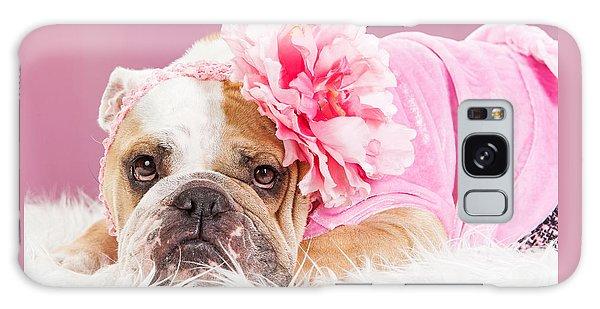 Female Bulldog Wearing Pink Outfit And Flower Galaxy Case