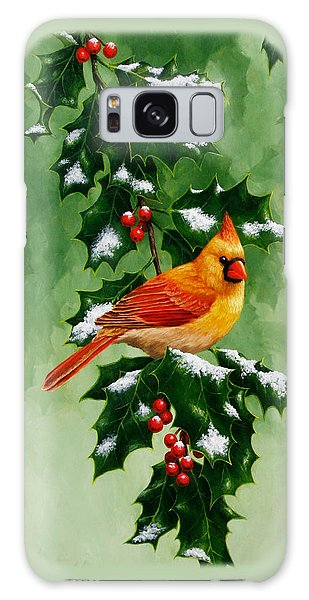 Song Bird Galaxy Case - Female Cardinal And Holly Phone Case by Crista Forest