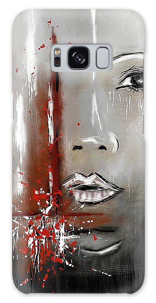 Female Half Face On Grey Abstract Galaxy Case