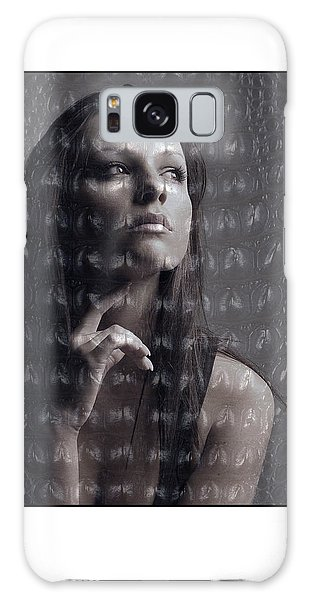 Female Portrait With Reptile Texture Galaxy Case