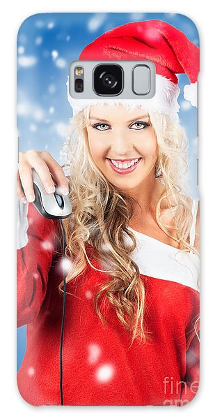 Buy Art Online Galaxy Case - Female Santa Claus Christmas Shopping Online by Jorgo Photography - Wall Art Gallery