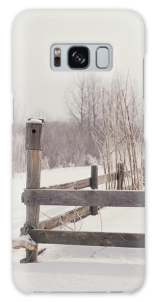 Fence Post Galaxy Case - Fence And Birdhouse In The Snow by Gillham Studios