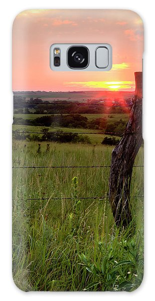 Galaxy Case featuring the photograph Fence Post At Sunset by Scott Bean
