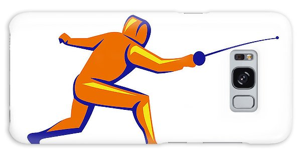 Sportsman Galaxy Case - Fencing Thrust Side View Retro by Aloysius Patrimonio