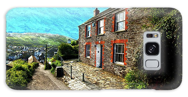 Cottage Galaxy Case - Fern Cottage Port Wenn Doc Martin Scenic View Oil Painting by Design Turnpike