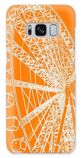 Ferris Wheel Silhouette Orange White Galaxy Case