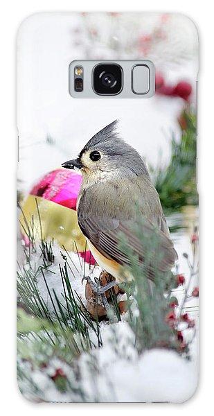 Titmouse Galaxy Case - Festive Titmouse Bird by Christina Rollo