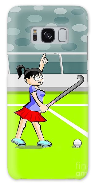 Field Hockey Player Girl With Hand Raised Galaxy Case